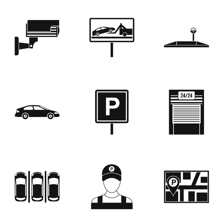 activate: Parking icons set. Simple illustration of 9 parking vector icons for web Illustration