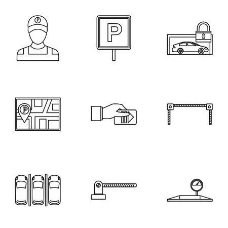 valet: Valet parking icons set. Outline illustration of 9 valet parking vector icons for web