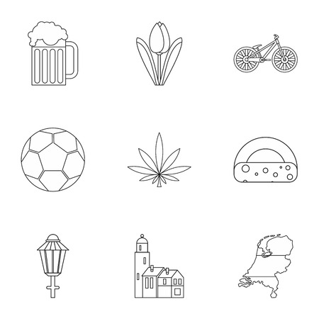 beer tulip: Country Holland icons set. Outline illustration of 9 country Holland vector icons for web