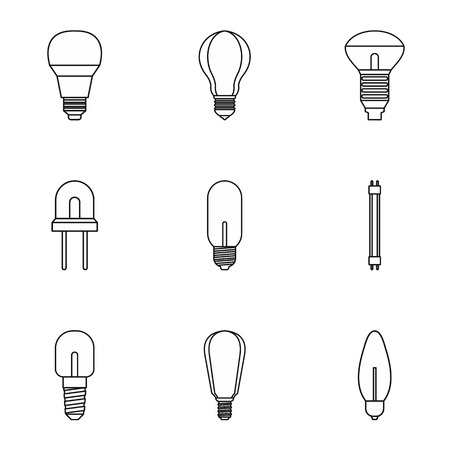Types Of Lamps Icons Set. Outline Illustration Of 9 Types Of Lamps Vector  Icons For