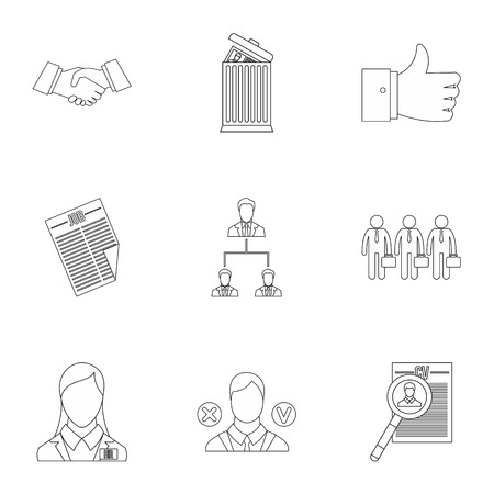 staffing: Staffing agency icons set. Outline illustration of 9 staffing agency vector icons for web