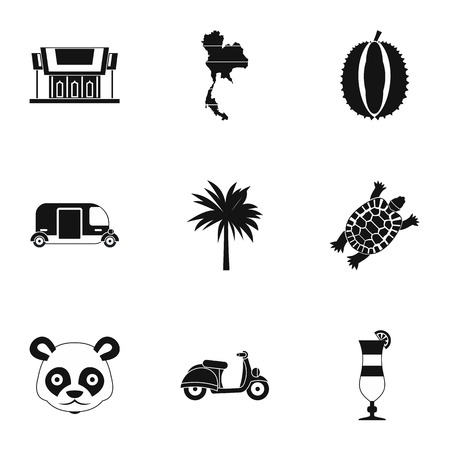 land turtle: Thailand icons set. Simple illustration of 9 Thailand vector icons for web