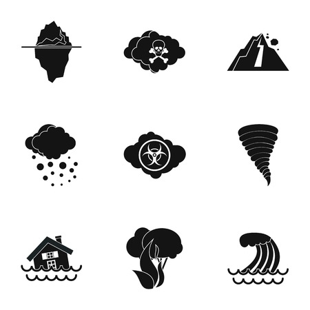 natural disasters: Natural disasters icons set. Simple illustration of 9 natural disasters vector icons for web Illustration