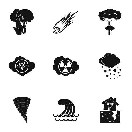 catastrophe: Natural catastrophe icons set. Simple illustration of 9 natural catastrophe vector icons for web