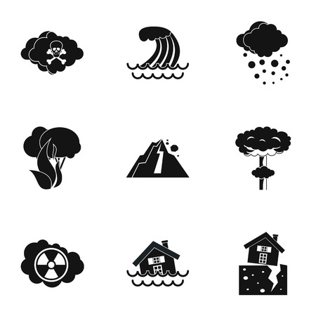 rockfall: Natural cataclysm icons set. Simple illustration of 9 natural cataclysm vector icons for web Illustration