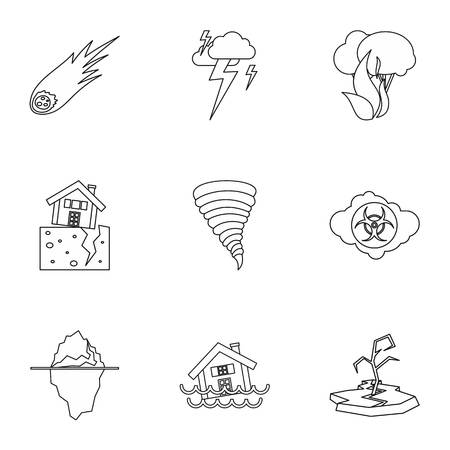 disasters: Natural disasters icons set. Outline illustration of 9 natural disasters vector icons for web