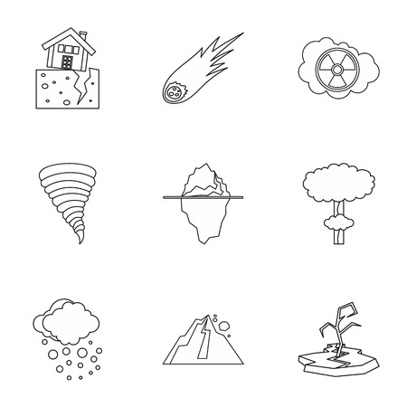 rockfall: Natural catastrophe icons set. Outline illustration of 9 natural catastrophe vector icons for web Illustration