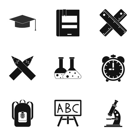 schooling: Schooling icons set. Simple illustration of 9 schooling vector icons for web