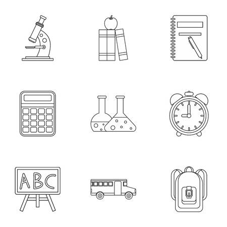 schoolhouse: Schoolhouse icons set. Outline illustration of 9 schoolhouse vector icons for web
