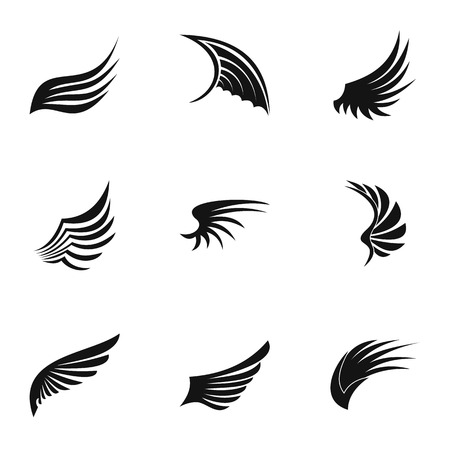 shredding: Different wings icons set. Simple illustration of 9 different wings vector icons for web Illustration