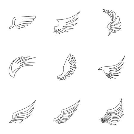 Conjunto de iconos de alas. Ilustración de esquema de 9 iconos de vector de alas para web Ilustración de vector