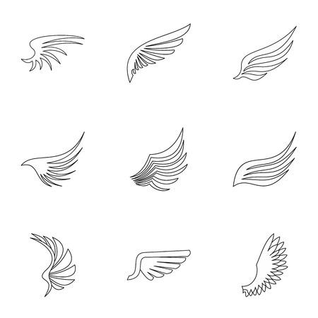 Alas de pájaro conjunto de iconos. Ilustración del esquema de 9 alas de los iconos del vector del pájaro para la tela