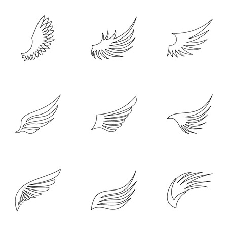 Tipos de iconos alas fijadas. Ilustración del esquema de 9 tipos de iconos alas vectores para la web