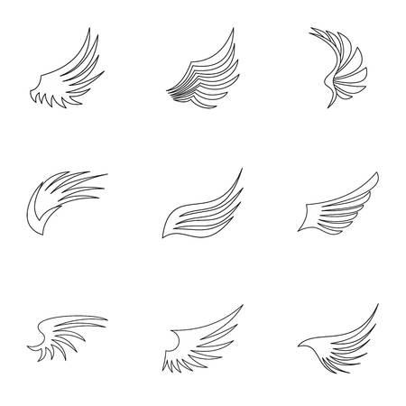 Conjunto de iconos de diferentes alas. Ilustración del esquema de 9 iconos diferentes del vector de las alas para la tela