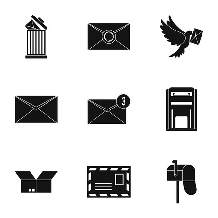 sealing: Letter icons set. Simple illustration of 9 letter vector icons for web Illustration