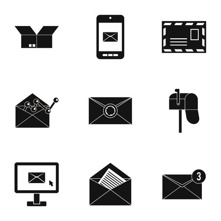 sealing wax: Communication icons set. Simple illustration of 9 communication vector icons for web