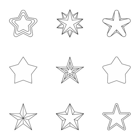 five pointed: Figure star icons set. Outline illustration of 9 figure star vector icons for web Illustration