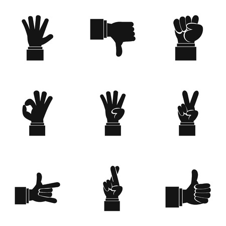 extremity: Gestural icons set. Simple illustration of 9 gestural vector icons for web