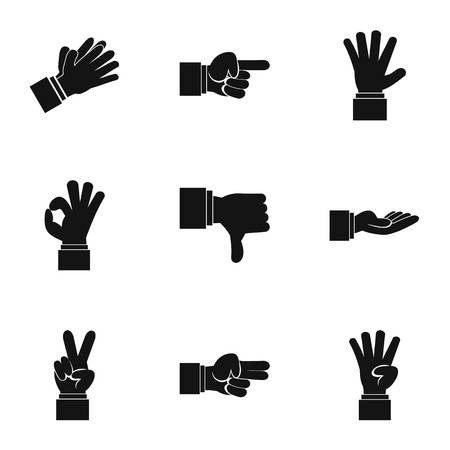 control of body movement: Communication gestures icons set. Simple illustration of 9 communication gestures vector icons for web