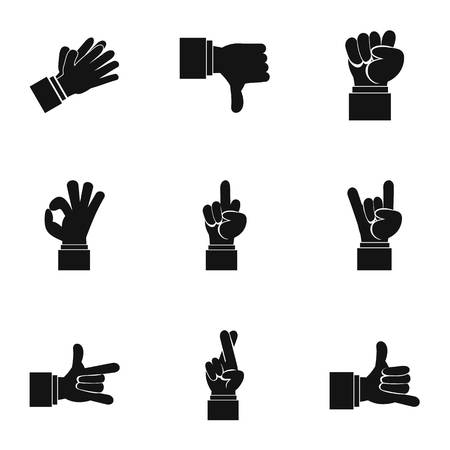 extremity: Hand icons set. Simple illustration of 9 hand vector icons for web Illustration