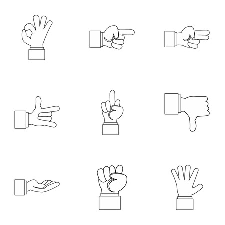 gestural: Gestural icons set. Outline illustration of 9 gestural vector icons for web