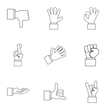 extremity: Fingers icons set. Outline illustration of 9 fingers vector icons for web Illustration