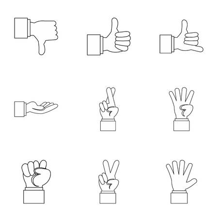 extremity: Gesture icons set. Outline illustration of 9 gesture vector icons for web