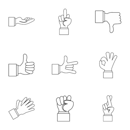 extremity: Hand icons set. Outline illustration of 9 hand vector icons for web