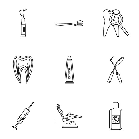 carious: Stomatology icons set. Outline illustration of 9 stomatology vector icons for web Illustration