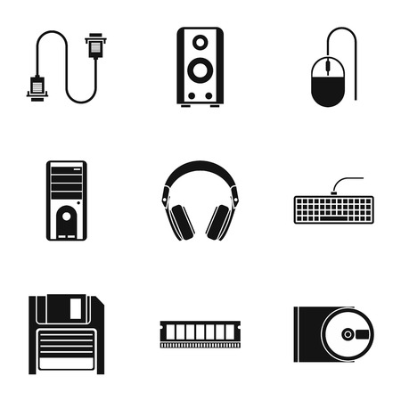 Computer icons set. Simple illustration of 9 computer vector icons for web