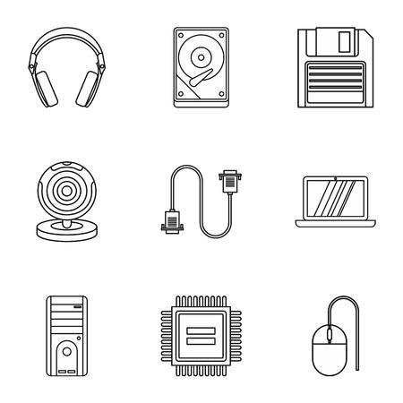 computer repair: Computer repair icons set. Outline illustration of 9 computer repair vector icons for web Illustration