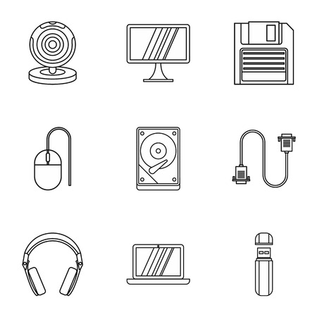 computer protection: Computer protection icons set. Outline illustration of 9 computer protection vector icons for web
