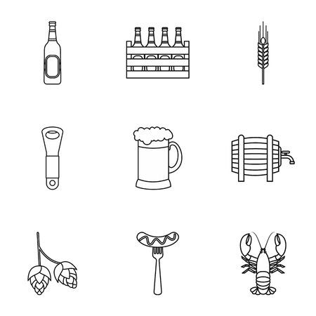 alcoholic: Alcoholic beverage icons set. Outline illustration of 9 alcoholic beverage vector icons for web Illustration