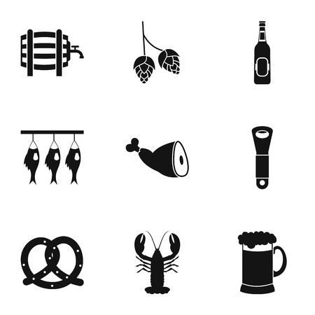 alcoholic beverage: Alcoholic beverage icons set. Simple illustration of 9 alcoholic beverage vector icons for web