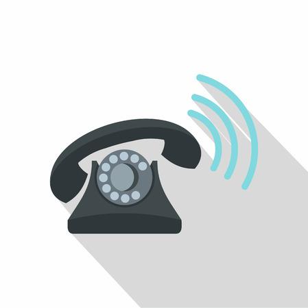 parley: Black retro phone ringing icon. Flat illustration of vector icon for web isolated on white background Illustration