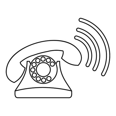 parley: Retro phone ringing icon. Outline illustration of retro phone ringing vector icon for web