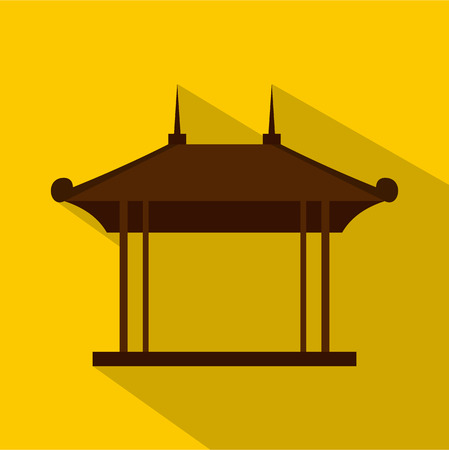 pavilion: Wooden pavilion icon. Flat illustration of wooden pavilion vector icon for web isolated on yellow background Illustration