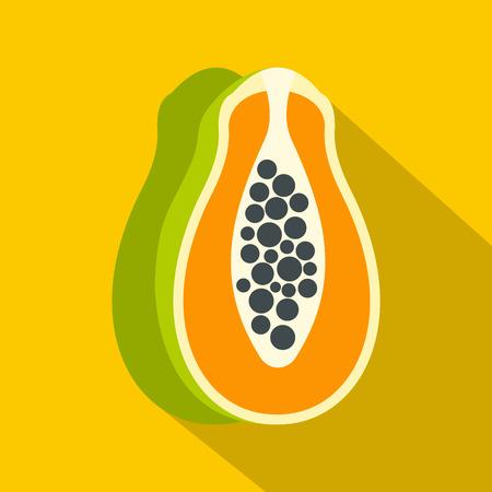 Sliced fresh papaya icon. Flat illustration of sliced fresh papaya vector icon for web isolated on yellow background