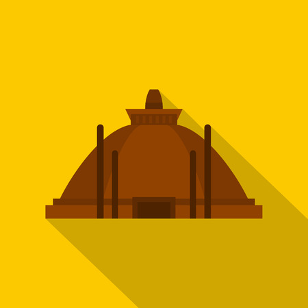 Memorable ruins in Polonnaruwa in Sri Lanka icon. Flat illustration of memorable ruins in Polonnaruwa vector icon for web isolated on yellow background