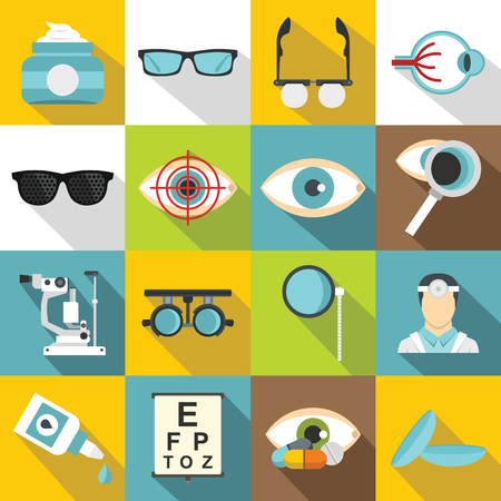 ophthalmologist: Ophthalmologist tools icons set. Flat illustration of 16 ophthalmologist tools vector icons for web
