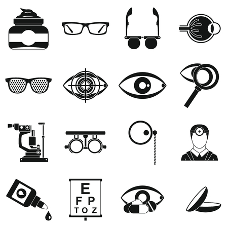 ophthalmologist: Ophthalmologist tools icons set. Simple illustration of 16 ophthalmologist tools vector icons for web
