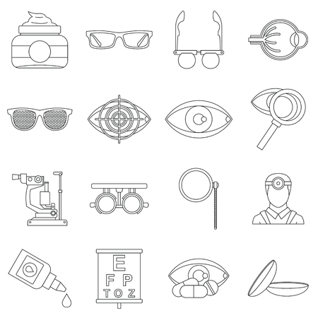 ophthalmologist: Ophthalmologist tools icons set. Outline illustration of 16 ophthalmologist tools vector icons for web
