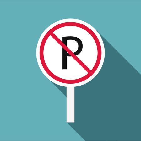 prohibido: Está prohibido estacionar icono. Ilustración plana de estacionamiento está prohibido icono para web Vectores