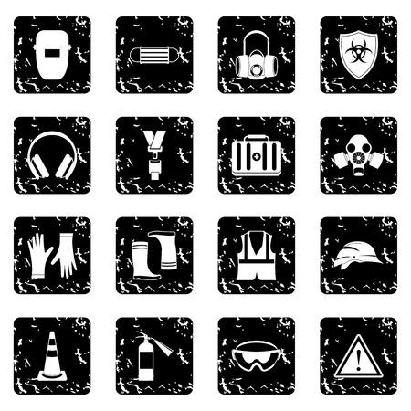 dangerous work: Safety set icons in grunge style isolated on white background. Vector illustration Illustration