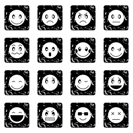 scheming: Emoticon set icons in grunge style isolated on white background. Vector illustration