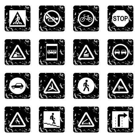 multiple lane highway: Road Sign set icons in grunge style isolated on white background. Vector illustration Illustration