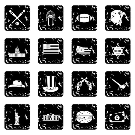 black american: USA set icons in grunge style isolated on white background. Vector illustration