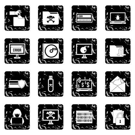 ddos: Criminal activity set icons in grunge style isolated on white background. Vector illustration