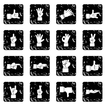 gesticulation: Hand gesture set icons in grunge style isolated on white background. Vector illustration