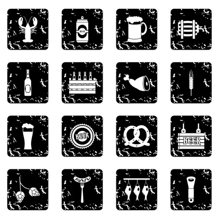 canned drink: Beer set icons in grunge style isolated on white background. Vector illustration
